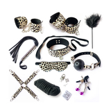 Leopard Print Bondage Boutique Leather Bondage Kit (10 Pieces)